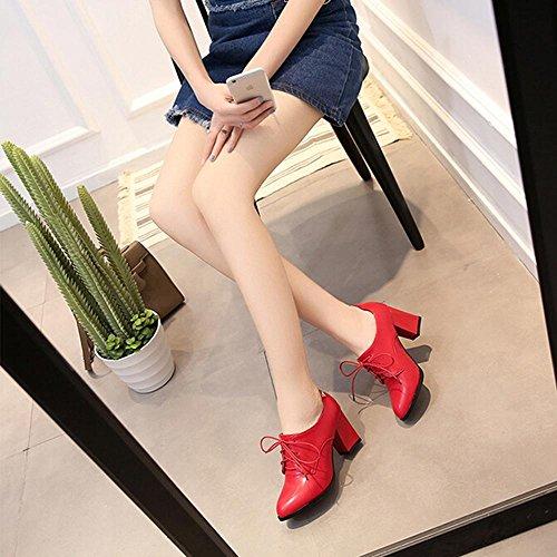 Red Material de de Tacón Artificial Alto Sra Zapatos Cruzadas Los Cuero GJDE de Correas de PU Estilo Romano la 1qtUSxw
