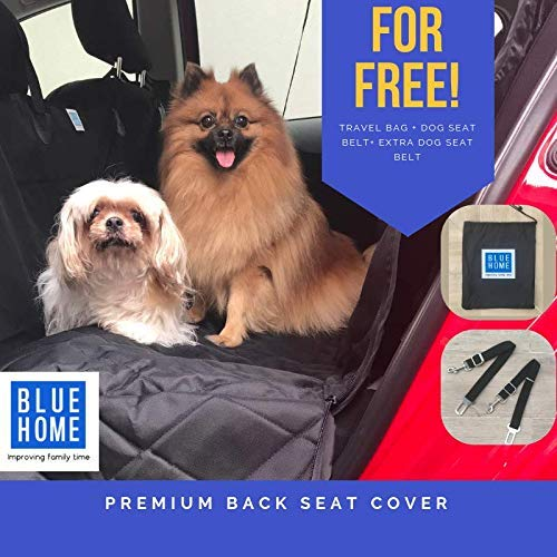 blueEHOME New    Pet Car Seat Cover for Back Seat 100% Waterproof Cars Trucks SUVs Hammock 600D Heavy Duty Durable Nonslip Material ISOFIX System Friendly and Seat Belt Opening color Black