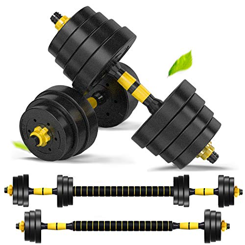 DOUBLX 4 in 1 Adjustable Dumbbell Sets, 40 Lb Multifunctional Dumbbell Sets Barbell Weight Set for Home Gym, Culr Bar…