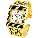 STC Gold Tone Twist Rope Style Rectangle Face Cuff Watch for Women