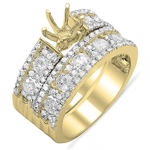 Dazzlingrock Collection 1.33 Carat (ctw) 14K Round Diamond Semi Mount Ring Set 1 1/3 CT (No Center Stone), Yellow Gold, Size 5 ()