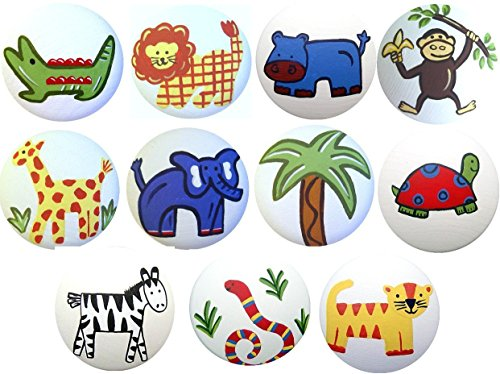 Jungle Drawer Pulls - Colorful Hand Painted Decorative Jungle Safari Animal Kids Dresser Cabinet Drawer Knobs Pulls Choose Your Designs (SINGLE KNOB)