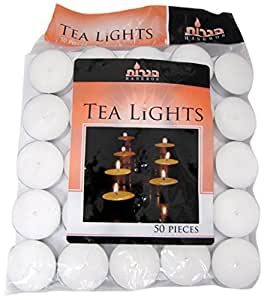 Blue Sky Tealight Candles, White, Unscented, Set of 50
