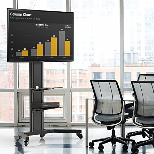 Fenge Black Mobile Tv Cart for up to 65 Inch LED Flat Screen Monitor with Tempered glass Av Shelf and Locking Caster Wheels. by Fenge