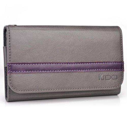 Grey | Purple Wallet Phone Holder Fits Acer Cloud Mobile S500 +NuVur KeyChain (ESMLGPE1)