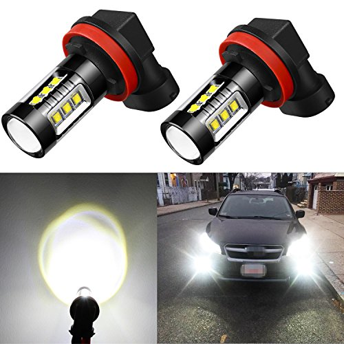 Alla Lighting Xtreme Super Bright H11 LED Fog Lights High Power 80W LED H11 6000K White H11 LED Bulb H11LL H8LL H8 H16 H11 Fog Lights Lamp Bulbs Replacement w/Projector (Set of 2)