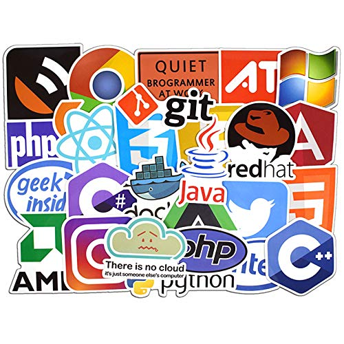 50PCS Program Stickers Laptop Stickers Pack for Developer Programming Stickers of Front-end dev,Back-end Languages Stickers for Programmers Hackers Engineers Software Developers Geeks Coders