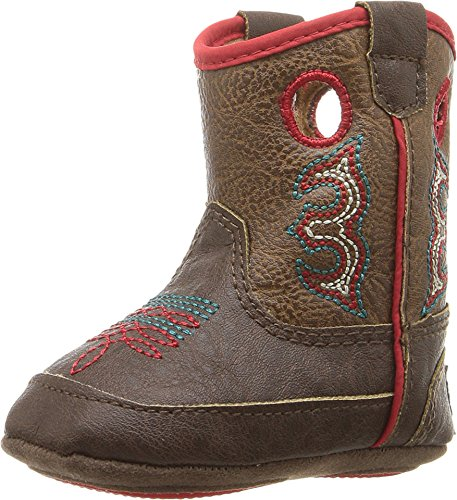 Dbl Barrel Baby Buckers Infant Boy Kolter Boot- Brown w/Red Trim - BROWN - 2