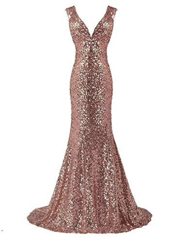 LanierWedding Gold Sequins Mermaid V Neck Bridesmaid Dresses Plus Size Prom Dresses Rose Gold Size -
