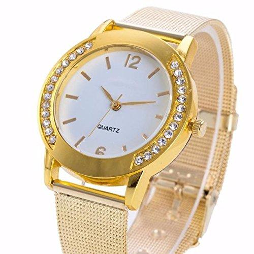 Amazon.com: Uhren El reloj LOrologio women Mode Femmes Cristal dor en acier inoxydable analogique quartz montre-bracelet (or, argent): Cell Phones & ...