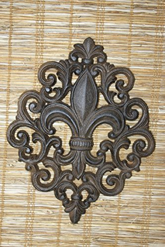 Fancy Swirl Design Fleur De Lis Wall Plaque, Solid Cast Iron, 9 1/2