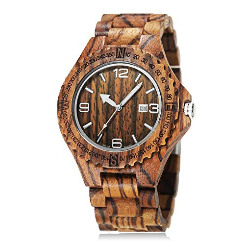 - CUCOL Mens Zebra Wood Watch Japanese Quartz Movement Date Display Lightweight Vintage Wristwatch Groomsman Gift
