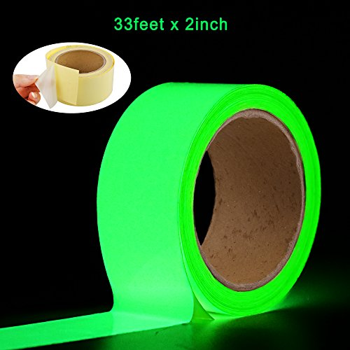 Glow in The Dark Tape Oumers 33 ft x 2 inch Green High Bright Luminous Tape Sticker Removeble Waterproof and Photoluminescent ()