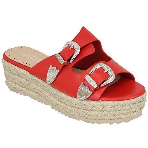 Ladies Platform Mule Sandals Womens Rope Line Strap Buckle Wedge Shoes Summer Red - 773 zqCoq0W