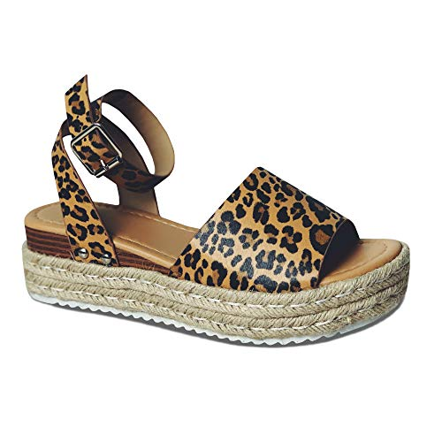 LAICIGO Women's Flatform Espadrilles Ankle Strap Buckle Open Toe Faux Leather Studded Wedge Summer Sandals (10 B(M) US, 1-Loepard)