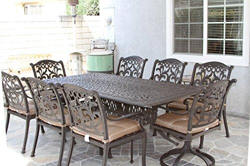 Mandalay Outdoor Patio 9pc Dining Set Dark Bronze Cast Aluminum, Walnut Cushions