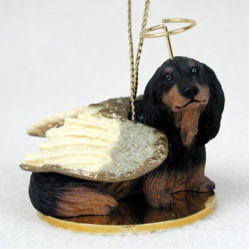 Dachshund Longhaired Black Pet Angel Ornament (Angel Dachshund)