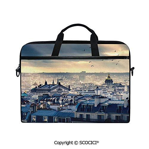 Personalized Laptop Bag 14-15 Inch Messenger Bag Paris Cityscape Taken from Montmartre Rooftops Flying Bird Pigeons Foggy Sunrise Shoulder Sleeve Case Tablet Briefcase