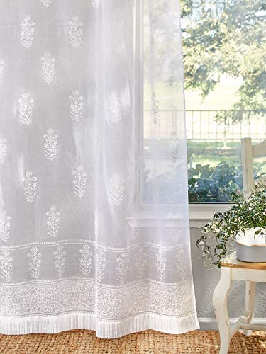 Saffron Marigold – Tulip Mist – White Cream Floral Hand Printed – Sheer Cotton Curtain Panel – Tab Top or Rod Pocket – 46 x 63 inches
