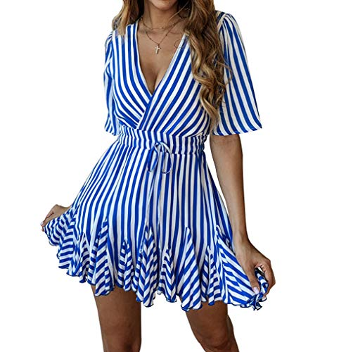 PRETTYGARDEN Women's Sexy Deep V Neck Short Sleeve Striped Wrap Ruffle Hem Pleated Mini Dress with Belt (Blue, Large)