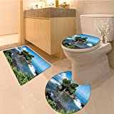 3 Piece Extended bath mat setBalinese Pura Ulun Danu Temple Panorama at Sunrise on A Bratan Bali Indonesia Watersc Non Slip Bathroom Rugs