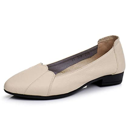 488af1d9025b Image Unavailable. Image not available for. Color  Dreamstar Women Leather  Flat Shoes Female Casual Work Ballet Flats ...