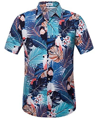 Hawaiian Street Shirt (MUSE FATH Mens Summer Short Sleeve Stylish Hawaiian Shirt-Tropical Print Cotton Seaside Shirt-ColorA-XL)