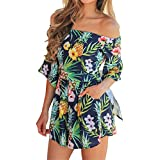 Happy Sailed Women Sexy Off Shoulder Floral Print Strapless Romper Beach Short Jumpsuit Large Green