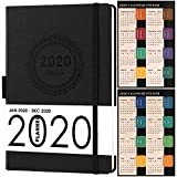 "2020 Planner, Weekly/Monthly Planner, Saffiano Leather with Thick Paper, Back Pocket with 88 Notes Pages, 5.75"" x 8.25"""