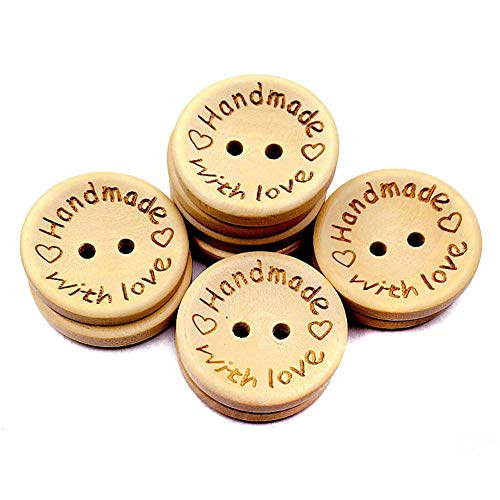 - 100 PCS Round 2 Hole Handmade with Love Wooden Button Wood Decorative Button for DIY Craft Sewing Embellishment Accessory (Diameter - 1