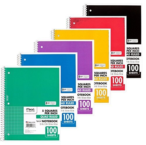 Mead Spiral Quad Ruled Notebook, 1 Subject 5 Squares per inch 100 Sheets, 6 Pack by Mead