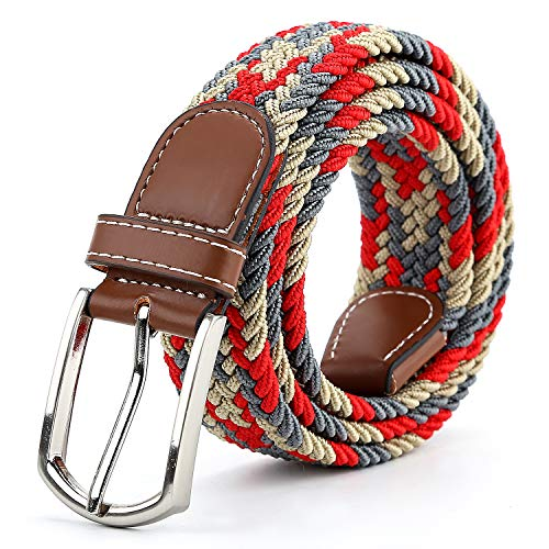 Braided Canvas Woven Elastic Stretch Belts for Men/Women/Junior with Multicolored (Red-Gray-Khaki, Small/28