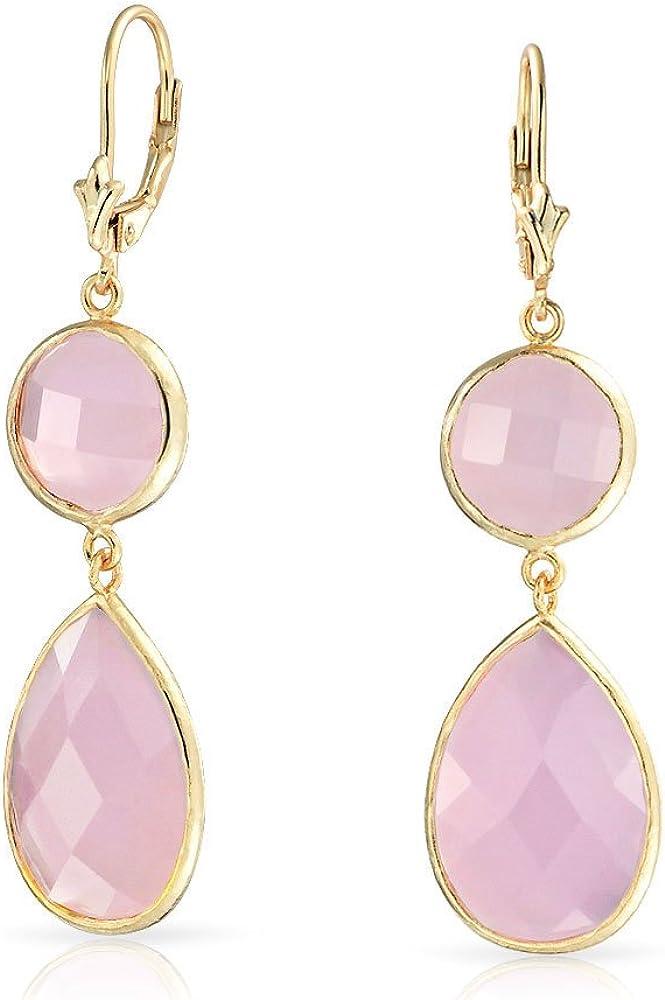 Bling Jewelry Rosa Tallado En Forma Pera Colgante Pendiente Piedra Cuarzo Calcedonia Simulado Chapado En Oro 14K 925 Plata