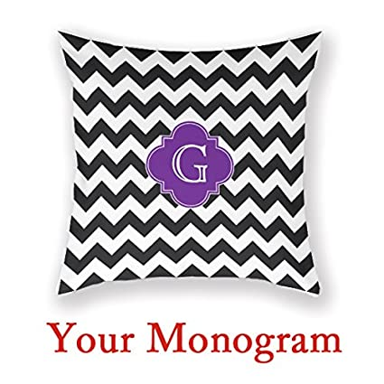 Amazon Personalized Cushions Online Black White Chevron Purple Fascinating Personalised Pillow Covers Online