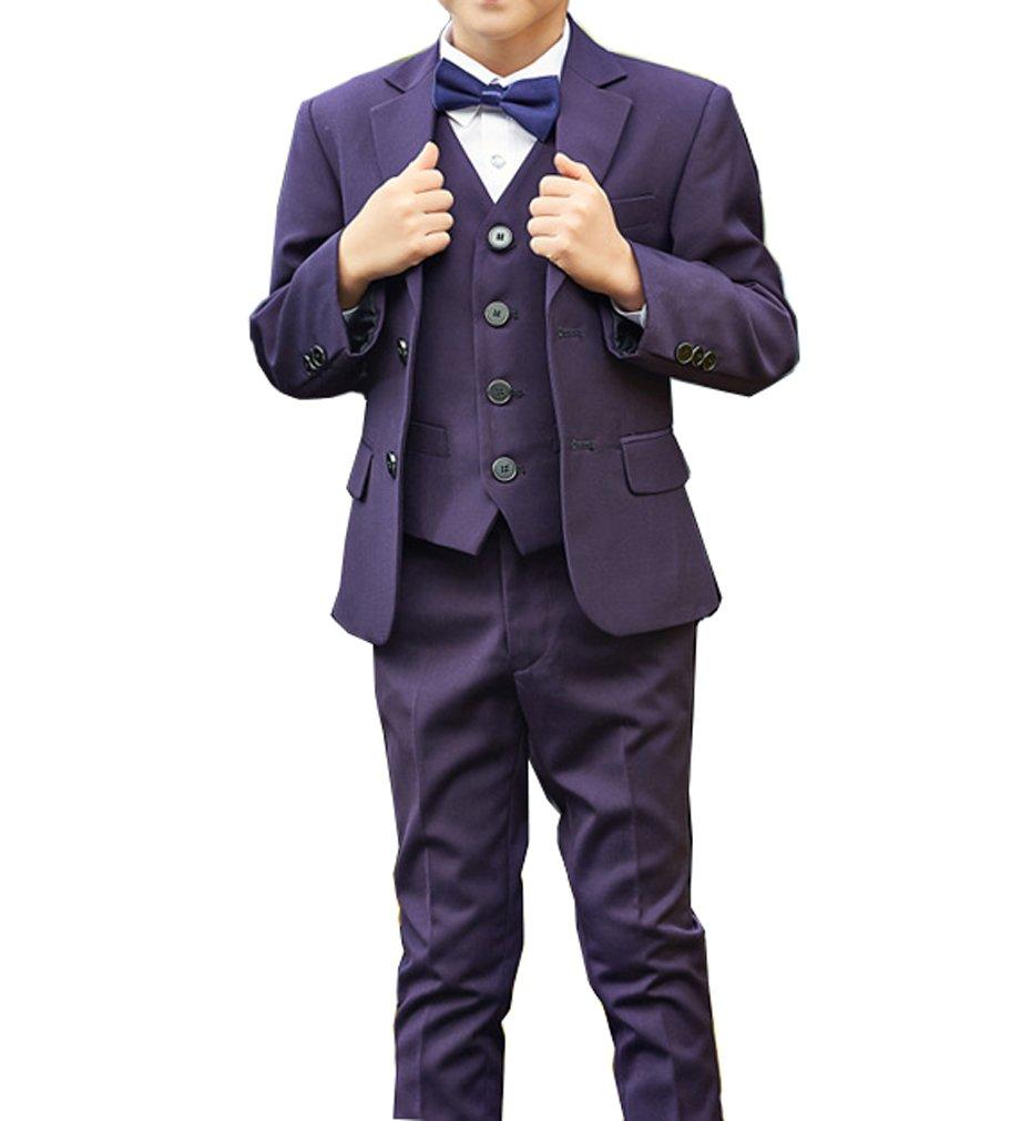 YUFAN Boys Formal Tuxedo Suits 5 Pieces Jacket+Pants+Vest+Shirt+Bow Tie 3 Colors Black Navy Plaid (10, Purple)