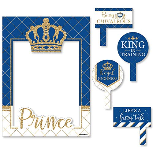 Big Dot of Happiness Royal Prince Charming - Baby Shower or Birthday Party Selfie Photo Booth Picture Frame & Props - Printed on Sturdy Material -