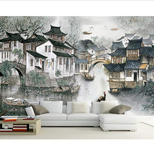 3D Decorations Wall Murals Stickers Wallpaper Living Room Bedroom Home Decoration Jiangnan Water Village Chinese Sofa Background Art Kids Kitchen - Furniture Sofa Village