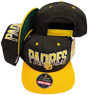 San Diego Padres Brown/Gold Two Tone Plastic Snapback Adjustable Plastic Snap Back Hat/Cap