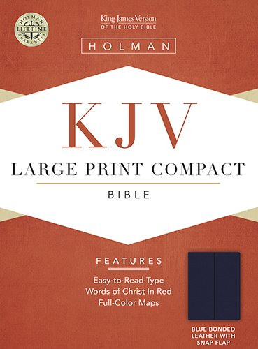 KJV Large Print Compact Bible, Blue Bonded Leather with Magnetic Flap Holman Bible Staff