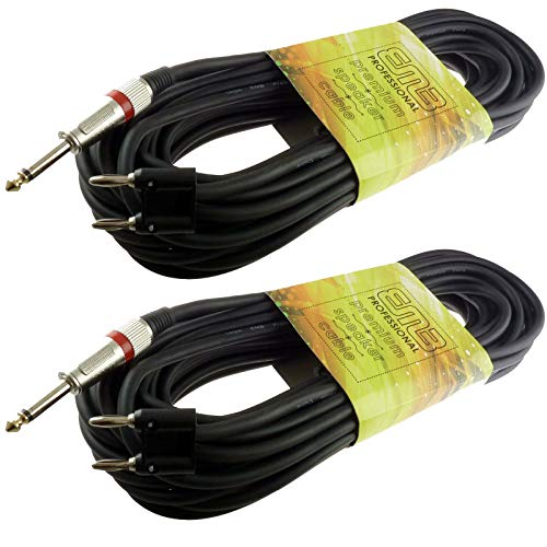 2x 50 FT foot feet pro audio 1/4 to dual banana plug speaker cable PA 16 gauge