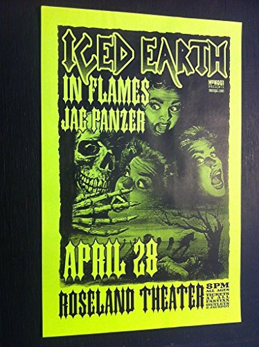 (Iced Earth Rare Original Original Heavy Metal Concert Tour Gig Flyer Poster)
