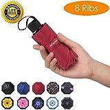Prodigen Travel Mini Umbrella Windproof UV Folding Compact Umbrella Portable Lightweight Sun & Rain Umbrellas for Women and Men (Wine Red)