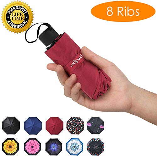 Prodigen Travel Mini Umbrella Windproof UV Folding Compact Umbrella Portable Lightweight Sun & Rain Umbrellas for Women and Men