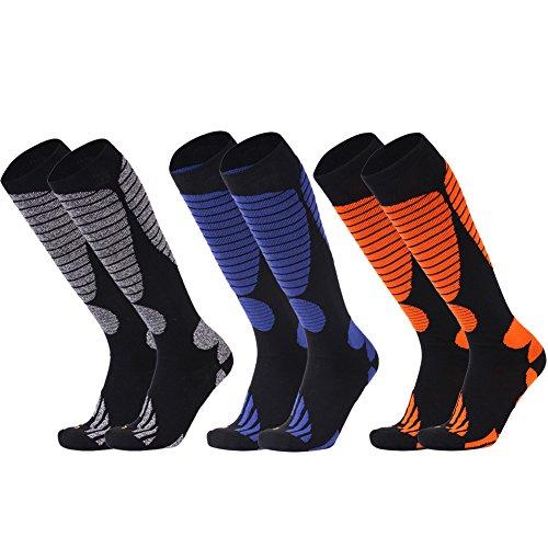 Mens Skiing Socks, LANDUNCIAGA Unisex Over Knee High Winter Warm Cotton Lightweight Hiking Snow Ski Snowboard Socks,3 Pairs