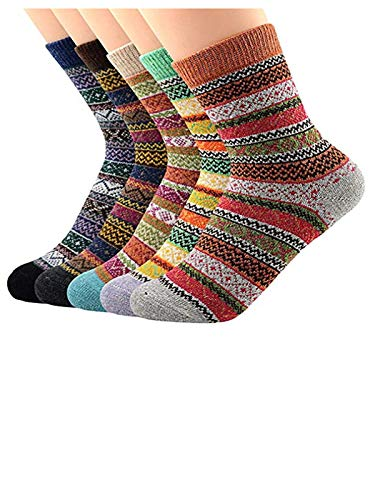 (Century Star Women's Vintage Winter Soft Wool Warm Comfort Cozy Crew Socks 5 Pack 5 Pairs Stripes)