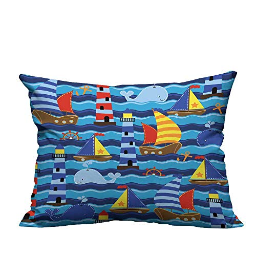 YouXianHome Decorative Throw Pillow Case Seamless Tileable Nautical