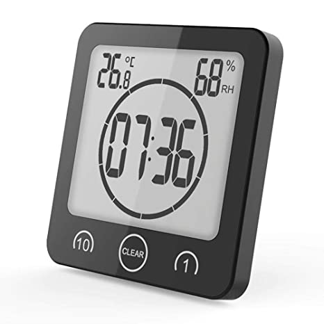 KDJ Reloj Digital Impermeable, Temporizador de Reloj de Ducha de baño con Gran Pantalla LCD