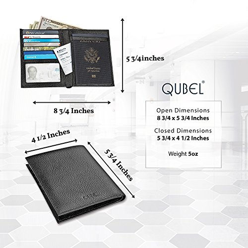 Travel Passport Wallet Holder by Qubel - RFID Blocking - Genuine Leather - Black - For Men & Women - Gift Box Included