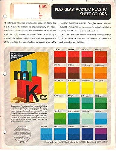 Plexiglas Acrylic Plastic Sheet Colors Chart: Amazon com: Books