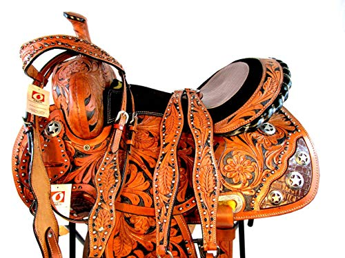 (Orlov Hill Leather Co 15 16 Show Gator Trail Floral Tooled Pleasure Western Barrel Racing Saddle TACK Set (15 Inch))